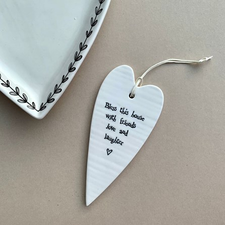 'Bless This House...' Porcelain Hanging Heart