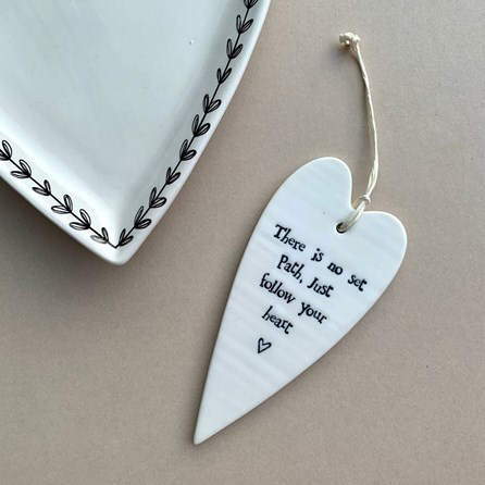 'There Is No Set Path...' Porcelain Hanging Heart