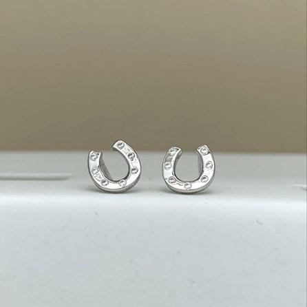 Sterling Silver Horseshoe Stud Earrings