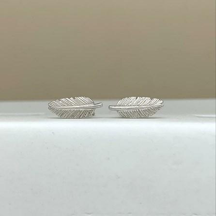 Sterling Silver Feather Stud Earrings
