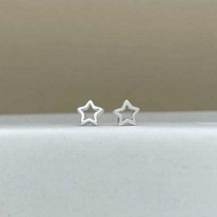 Sterling Silver Open Star Stud Earrings