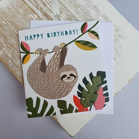 'Happy Birthday' Sloth Greetings Card