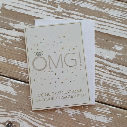 'OMG! Congratulations On Your Engagement' Greetings Card