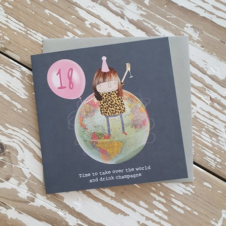 '18...Drink Champagne' Greetings Card