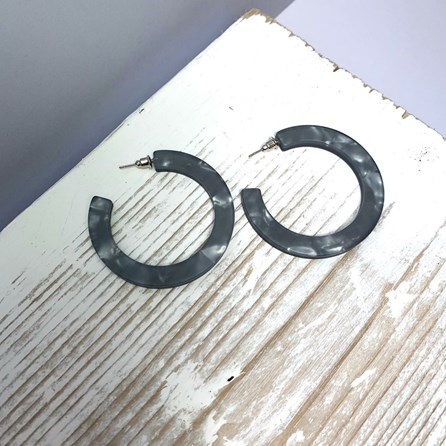 Large Hoop Resin Stud Earrings