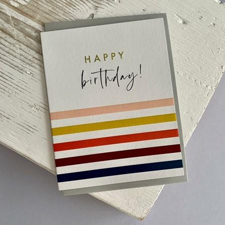 'Happy Birthday!' Stripes Greetings Card