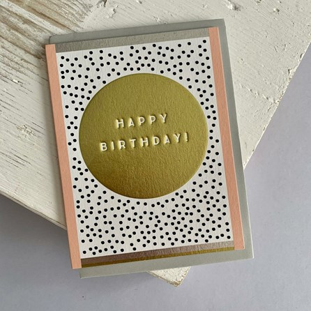 'Happy Birthday! Gold Circle Greetings Card