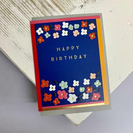 'Happy Birthday' Flowers Greetings Card