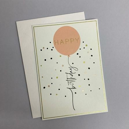 'Happy Birthday' Pink Balloon Greetings Card