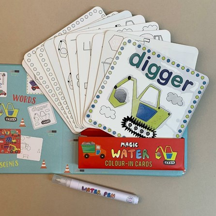 Construction Magic Water Colour-In Cards