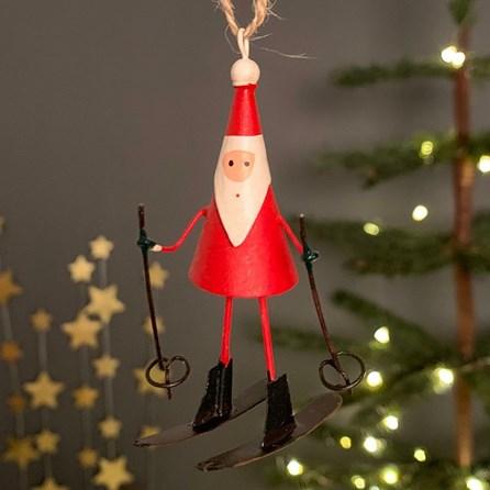 Skiing Santa Hanging Christmas Decoration