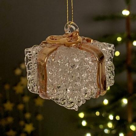 Glass Present Hanging Christmas Decoration