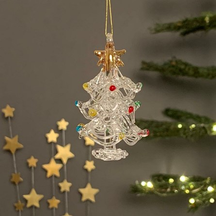 Glass Tree With Coloured Baubles