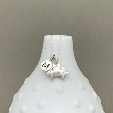 Personalised Solid Silver Origami Stegosaurus Necklace