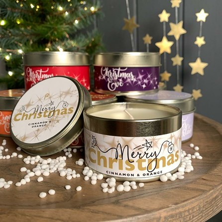 Pintail 'Merry Christmas' Tin Candle