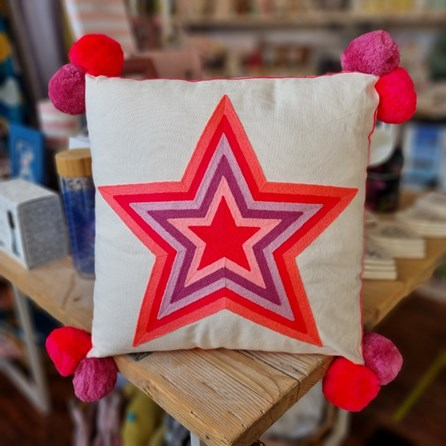 What a Star Embroidered Cushion in Pinks