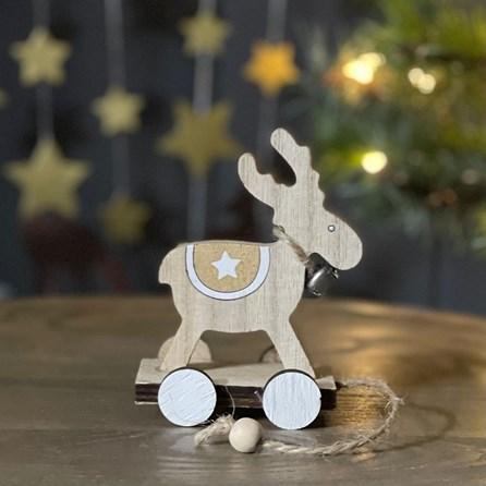 Wooden Pull Along Deer Decoration