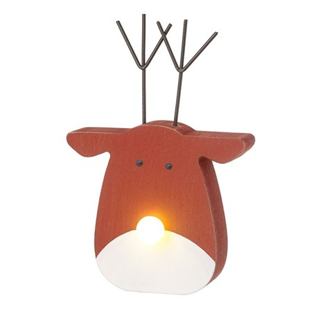 Wooden Reindeer Decoration with Light Up Nose