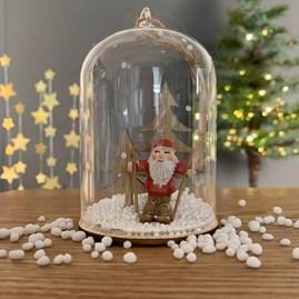 Skiing Santa In A Snow Globe