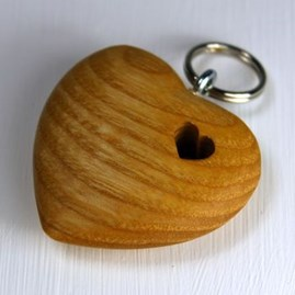 Wooden Heart With Hole Keyring