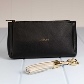 'Hey…' Black And Gold Make Up Bag