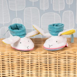 Moulin Roty Rabbit Baby Slippers - Blue & White