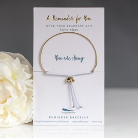 Gold 'You Are Strong' Reminder Bracelet