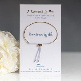 Gold 'You Are Unstoppable' Reminder Bracelet