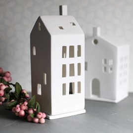 Porcelain Tall Tea Light Holder House With Chimney