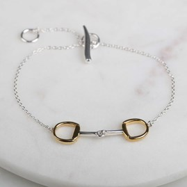 Solid Silver And Gold Single Riding Snaffle Bracelet