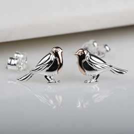 Rose Gold And Solid Silver Robin Stud Earrings