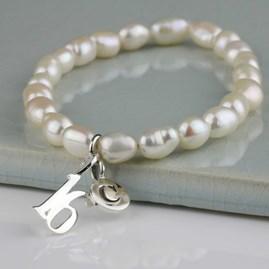 Personalised Freshwater Pearl Birthday Charm Bracelet