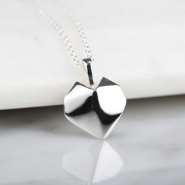 Stunning Silver Origami Heart Necklace
