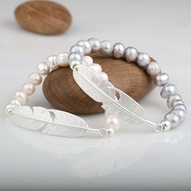Freshwater Pearls And Silver Feather Bracelet