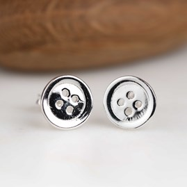 Polished Solid Silver Button Stud Earrings