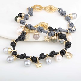 Leather, Freshwater Pearl And Agate Gold Bracelet