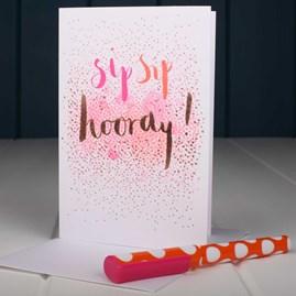 'Sip Sip Hooray' Greetings Card