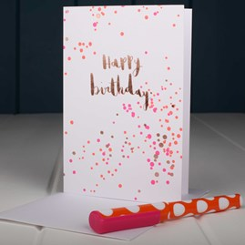 Pink And Gold Dots Birthday Card