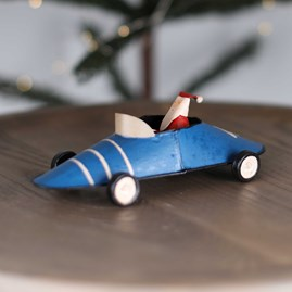 Father Christmas In A Blue Vintage Racing Car