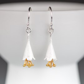 Solid Silver And Gold Fairy Fuchsia Earrings