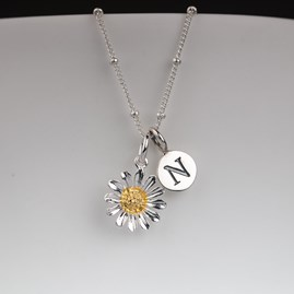 Personalised Solid Silver And Gold Daisy Necklace
