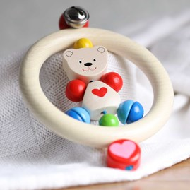 Wooden Baby Rattle With Friendly Bear