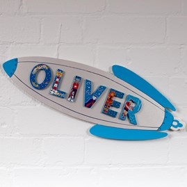 Wooden Silver Rocket Name Plaque