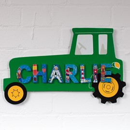 Wooden Green Tractor Name Plaque