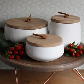 Porcelain And Acacia Wood Storage Jar