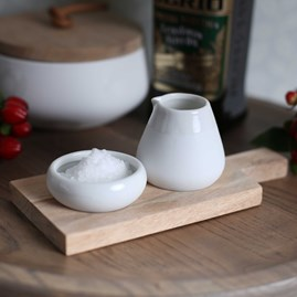 Porcelain Oil And Salt Vessels With Acacia Wood Paddle
