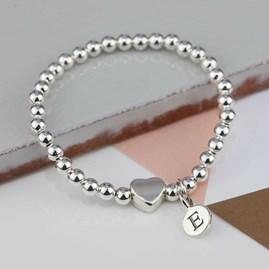 Personalised Tilly Silver Heart Bracelet