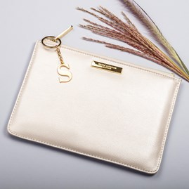 Katie Loxton Personalised Pebble Perfect Pouch In Metallic White