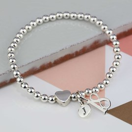 Personalised Solid Silver 'Milly' Heart Bracelet