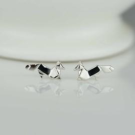 Stunning Silver Origami Fox Earrings